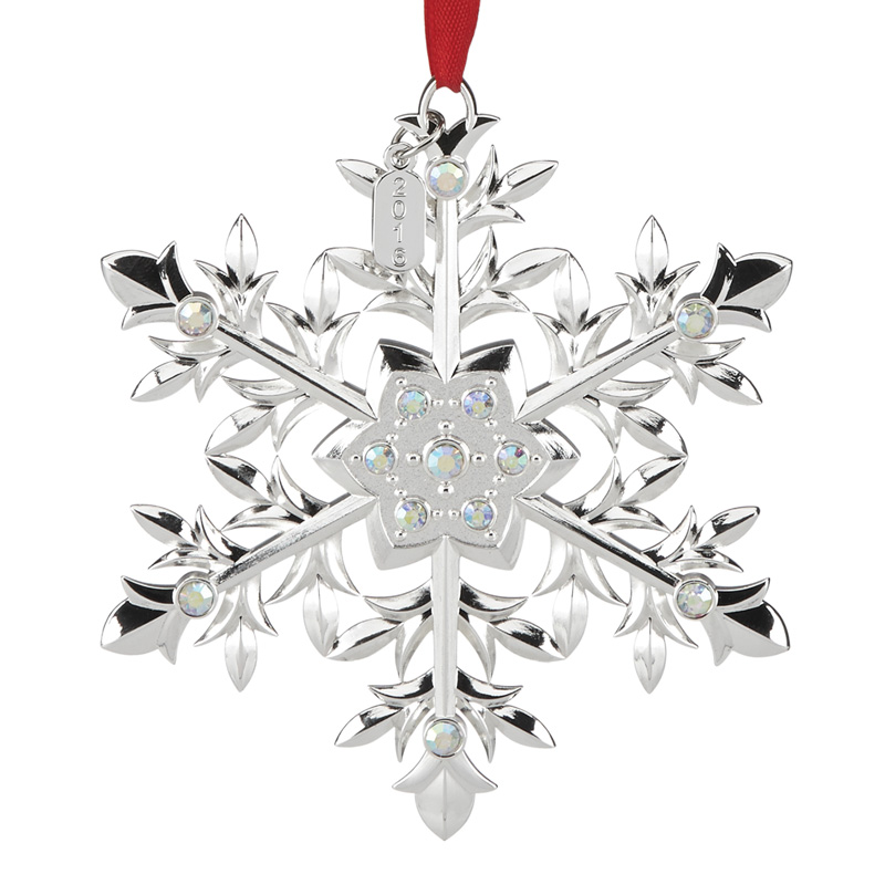 2016 snow majesty snowflake lenox christmas tree decoration snowflake decoration - Silver Plated Christmas Tree Decorations