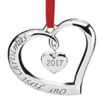 2017 Lenox Our First Christmas Forevermore Silver Wedding Ornament