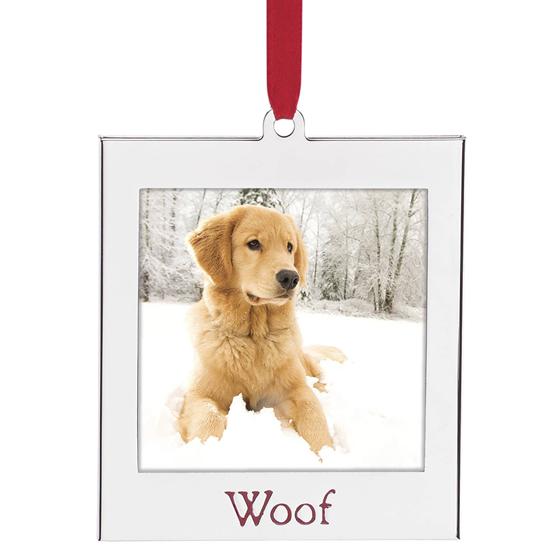 woof picture frame lenox christmas tree decoration silver frame - Dog Picture Frame
