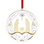 Lenox Nativity Stampled Metal Silverplate Christmas Ornament