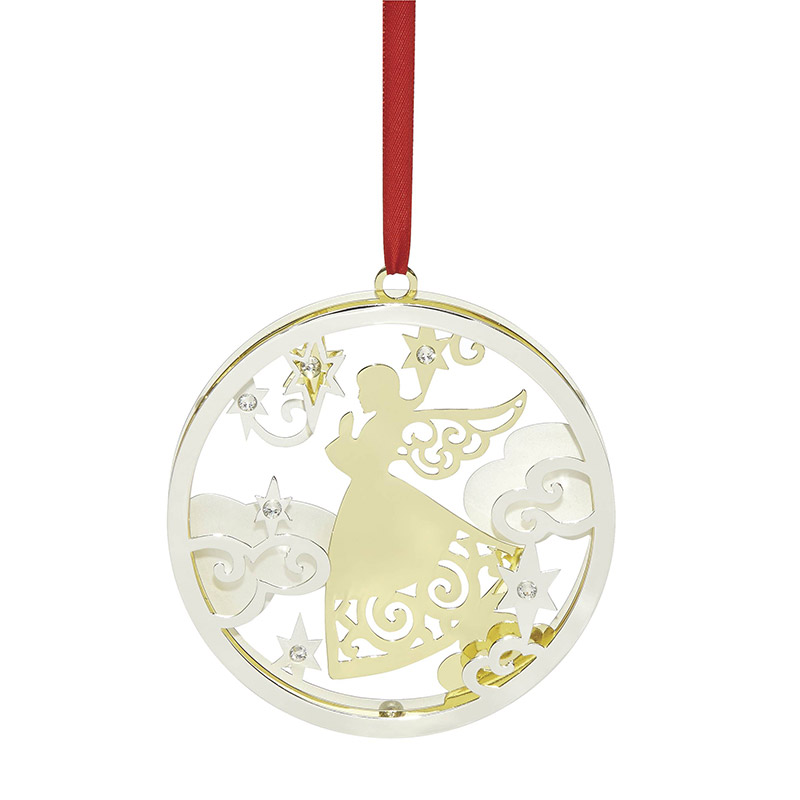 2018 angel stamped metal christmas ornament lenox christmas tree decoration angel stamped - Lenox Christmas Decorations