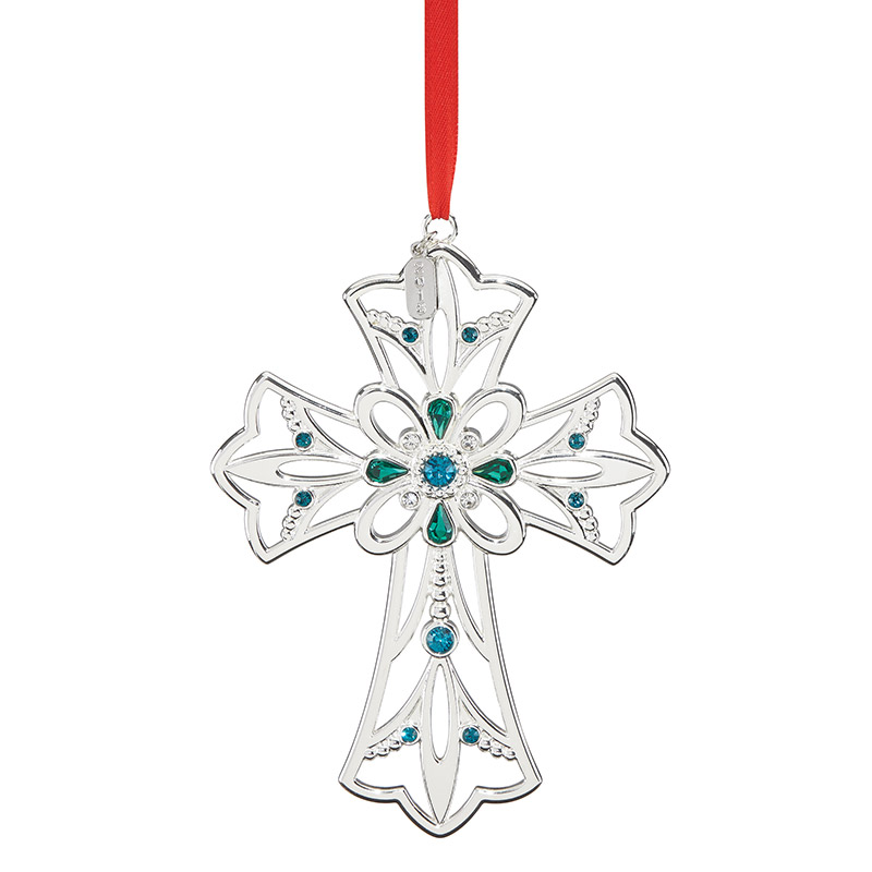 2018 Gemmed Cross Christmas Ornament | Lenox Christmas Tree Decoration | Silver Cross