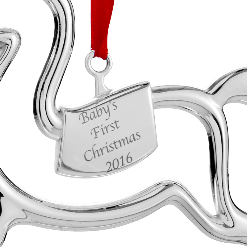 Babys First Christmas Ornament 2016  Nambe Ornament  Silver