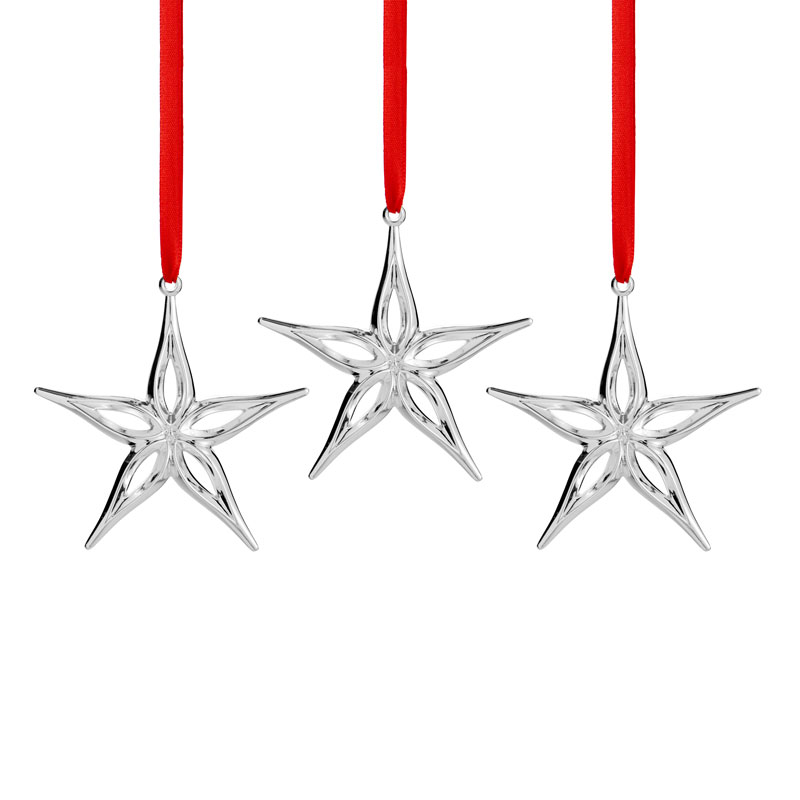 Silver Star Christmas Ornaments Set Of 3 Nambe Silver