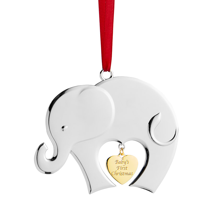 Silver Plate Baby Elephant Ornament with Gold Plate Heart and Red Hanging Tag