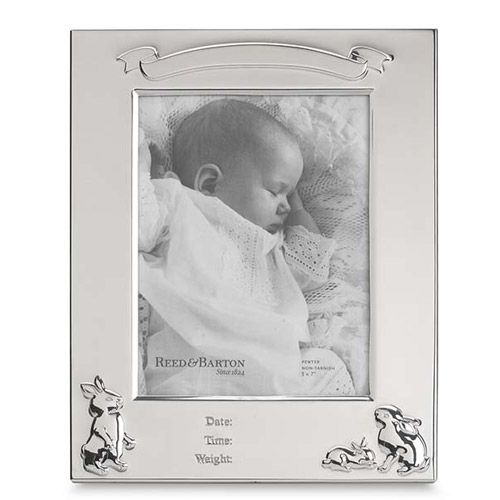 Reed Amp Barton Bunny Pewter Birth Record Picture Frame
