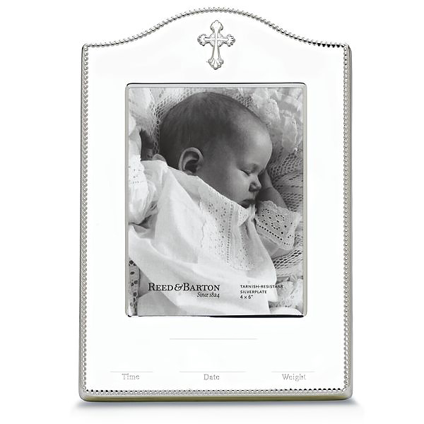 Reed Barton Abbey Silver Plate Birth Record Picture Frame