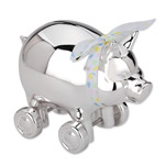 Reed and Barton Silver Piggy with Wheels Bank