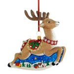 2015 Classic Christmas Santa and Sleigh Glass Decoration