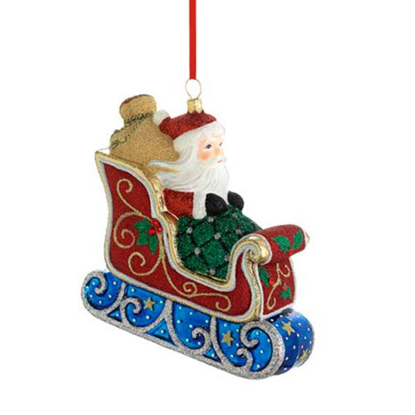 2015 Reed & Barton Classic Santa and Sleigh Glass Blown ...