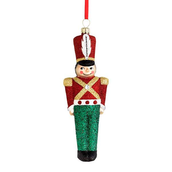 toy soldier glass blown christmas ornament larger image - Large Toy Soldier Christmas Decoration