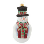 2016 Reed and Barton Gifting Snowman Glass Ornament