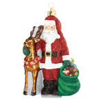 Santa and Reindeer Ornament - Glass ornament by Reed and Barton