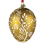 Reed and Barton Blown Glass Amber Mistletoe Egg Christmas Ornament