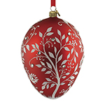 Reed and Barton Blown Glass Red Mistletoe Egg Christmas Ornament