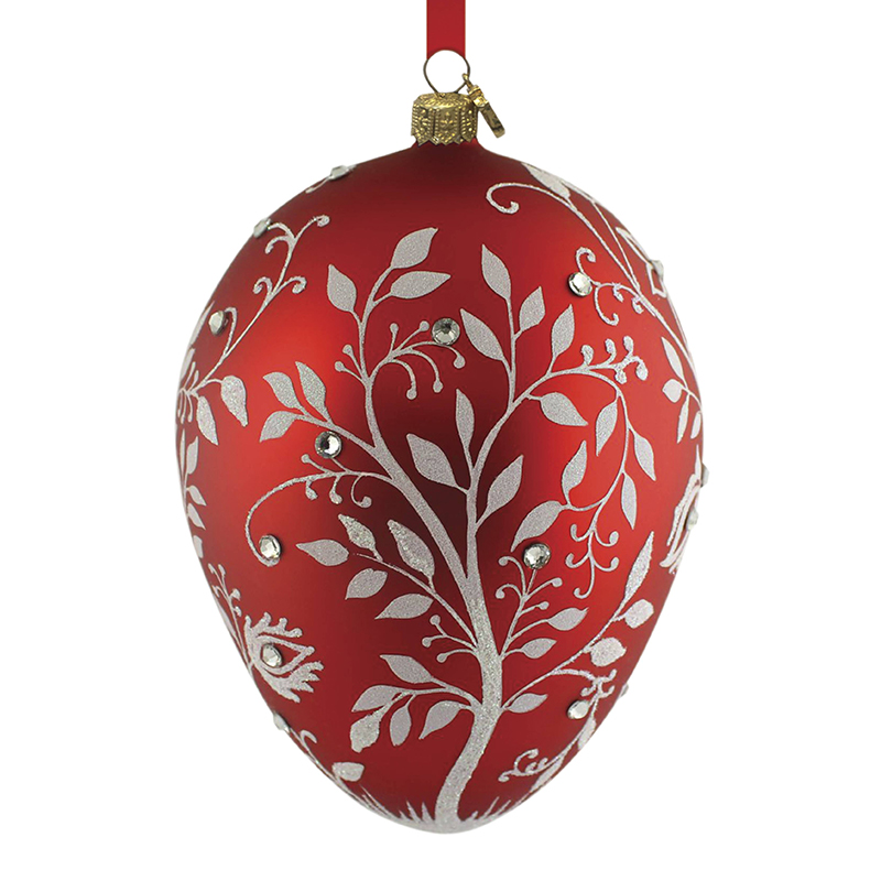 Red mistetoe egg reed and barton blown glass christmas for Christmas tree with red and silver decorations