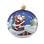Reed and Barton Rooftop Santa Ball Christmas Ornament