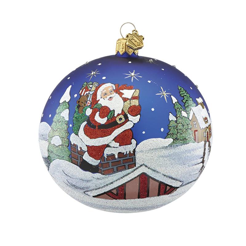 Reed and Barton Rooftop Santa Ball Christmas Ornament Tree Decoration |  Reed and Barton Christmas Ornament