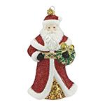 Reed and Barton Santa and Wreath Christmas Ornament