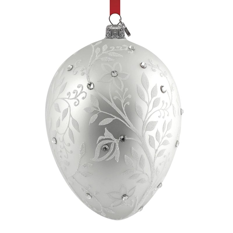 Reed and Barton Silver Mistletoe Egg Christmas Ornament Tree Decoration | Reed and Barton Christmas Ornament | Silver Christmas Bell