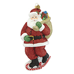 Reed and Barton Skating Santa Figure Christmas Ornament