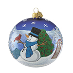 Reed and Barton Snowman and Sleigh Ball Christmas Ornament
