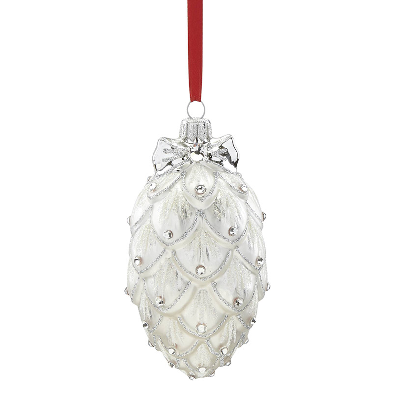 2018 Reed and Barton Pine Cone, Medium  Glass Ornament | Reed and Barton Ornaments