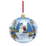 Reed and Barton Snow Days, Vintage Skaters Scene Ball Christmas Ornament