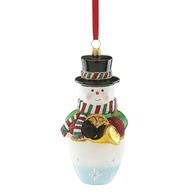 2018 Reed and Barton Snowman with French Horn Glass Ornament | Reed and Barton Ornaments