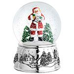 Reed and Barton Classic Santa Musical Silver Snowglobe
