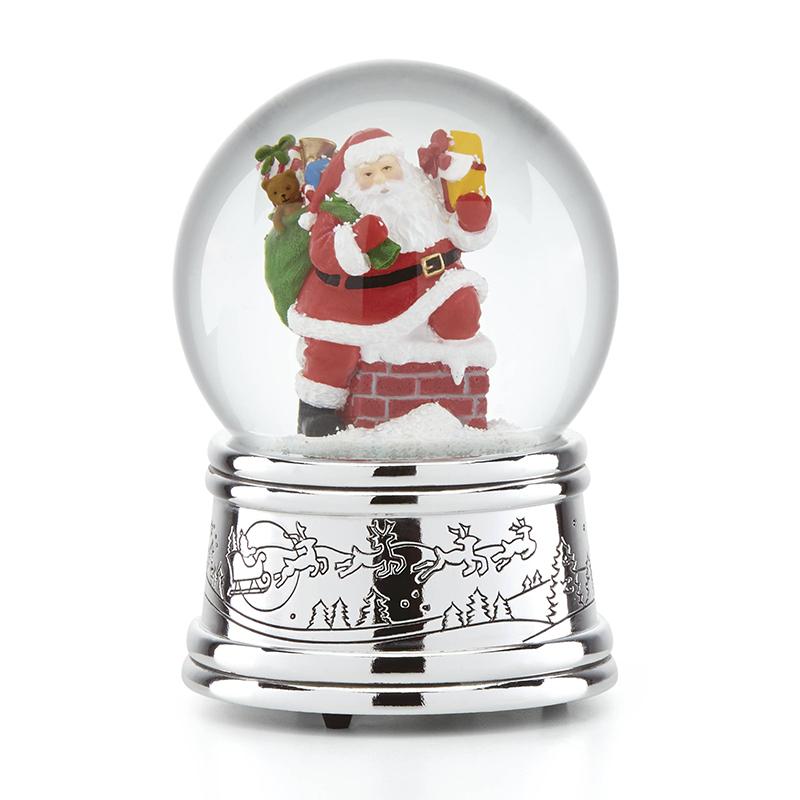 Reed and Barton Rooftop Santa Snow Globe Christmas Decoration | Reed and Barton Christmas Snow Globe
