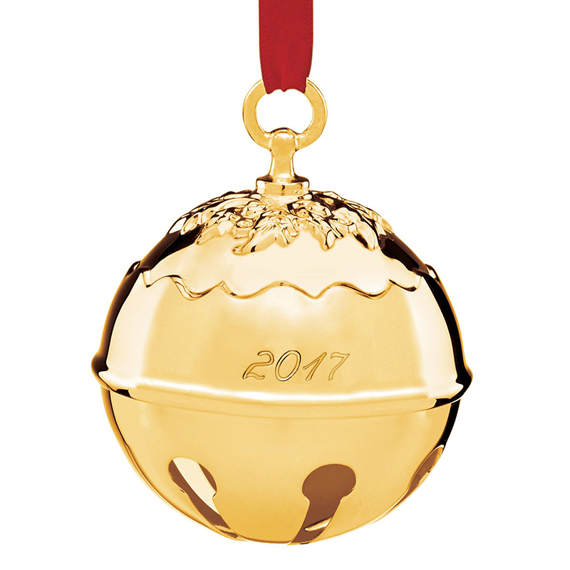 Reed and Barton 2017 Goldplate Holly Bell Ornament | Reed and Barton Christmas Tree Decorations | Silver Christmas Bell