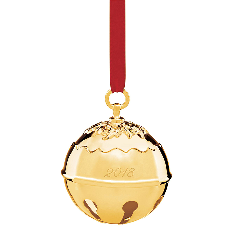 Reed and Barton 2018 Goldplate Holly Bell Ornament | Reed and Barton Christmas Tree Decorations | Silver Christmas Bell