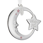 Reed and Barton Baby's First Christmas Ornament, Pink Moon and Star Design