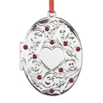 Reed and Barton Holly Berry Locket Christmas Ornament