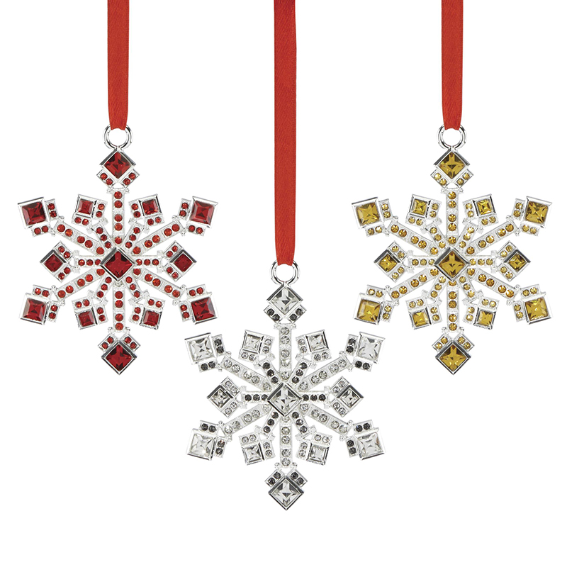 Reed and Barton Jeweled Snowflake Ornaments, Set of 3 Christmas Ornament  Tree Decoration | Reed - Jeweled Snowflake Ornaments, Set Of 3 Reed And Barton Christmas