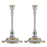 Nickel Plate Roseland Candlestick Pair by Reed and Barton