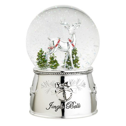 Reed And Barton Jingle Reindeer Siver Musical Snowglobe
