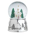 Reed and Barton Village Church Musical Silver Snowglobe