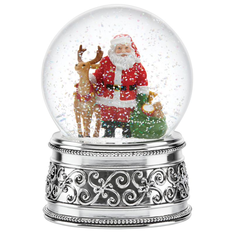 Reed And Barton Santa And Reindeer Snow Globe Reed And
