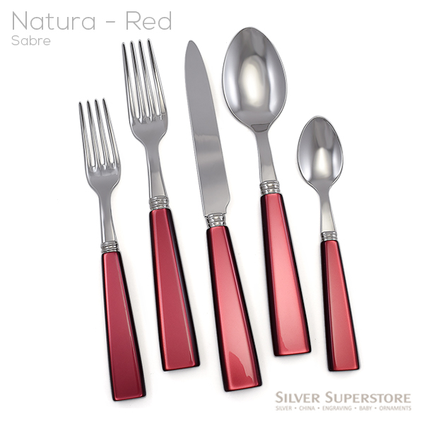 Sabre Natura Red Stainless Steel Flatware Silverware