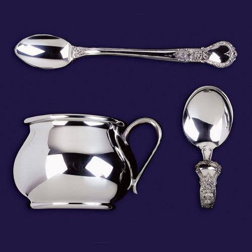 Salisbury Pewter Baby Cup And Feeding Spoons Gift Set