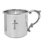 Sterling Scroll Handle Cross Baby Cup by Salisbury