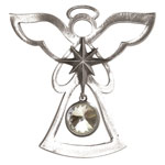Salisbury Pewter Birthstone Angel Ornament - April Diamond