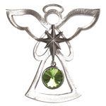 Salisbury Pewter Birthstone Angel Ornament - August Peridot