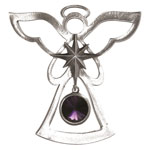 Salisbury Pewter Birthstone Angel Ornament - February Amethyst