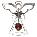 Salisbury Pewter Birthstone Angel Ornament - January Garnet