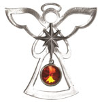 Salisbury Pewter Birthstone Angel Ornament - July Carnelian-Ruby