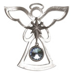 Salisbury Pewter Birthstone Angel Ornament - March Aquamarine