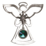 Salisbury Pewter Birthstone Angel Ornament - May Emerald